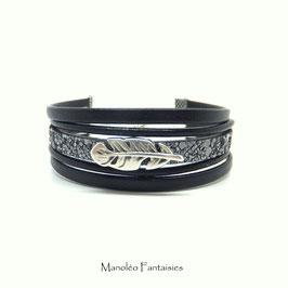 Bracelet PLUME Cuir noir effet sable gris