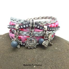 Bracelet manchette 2 tours TAO, perle, soleil, libellule, étoile , rose, gris, argenté