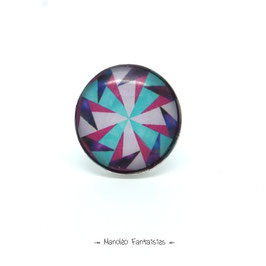 Bague ORIGAMI cabochon 25 mm turquoise, rose, violet