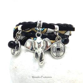 GANESH - Bracelet manchette 2 tours, noir, beige, turquoise et argenté