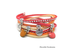 Bracelet LOEVA double tour, 4 liens suédine, dans les tons corail, orangés, beige et argenté...