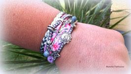 TAO - Bracelet manchette deux tours, rose, gris et argenté