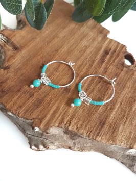 Créoles argent LISA mini perles turquoises