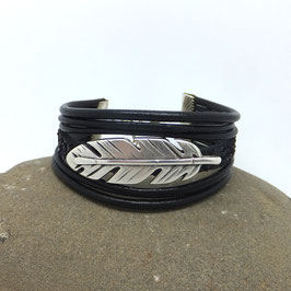 PLUME - Bracelet cuir et paillettes noires