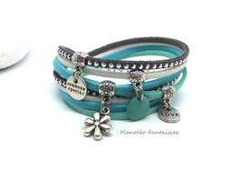 Bracelet LOEVA double tour, 4 liens suédine, dans les tons gris, blanc, turquoises et argenté...