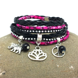 LOTUS- Bracelet LOTUS deux tours rose et noir
