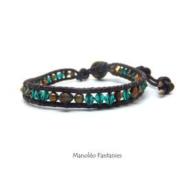 Bracelet wrap LUMI et ses perles en cristal de Swarovski dans les tons de marrons, verts et bronze...