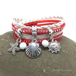 PYLA - Bracelet manchette deux tours corail, blanc et argenté