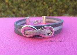 """Bracelet """"infini"""" 3 liens anthracite et argenté."""