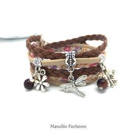Bracelet LIBERTY double tour, ses perles et pampilles, dans les tons marrons, beiges et argenté...