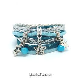 Bracelet ETOILES double tour dans les tons turquoise, gris argenté et argenté...