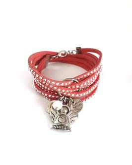 ANGEL - bracelet double tour, ses perles et pampilles,4 liens strassé corail