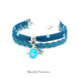 Bracelet mini manchette ETOILES turquoise et argenté
