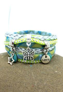 Bracelet ELOUAN manchette 2 tours , papillon, étoile, love dans les tons verts anis, turquoise et argenté...