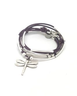 DRAGONFLY violet ♥  Bracelet en cuir libellule