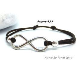 Bracelet INFINI en ARGENT et ses perles sur cordon marron...