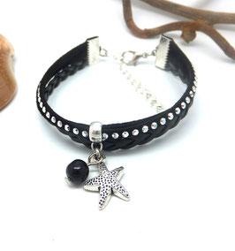 WAI- Bracelet mini manchette noir étoile de mer
