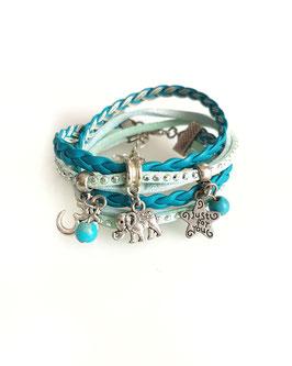 ELEPHANT turquoise - Bracelet manchette multitours