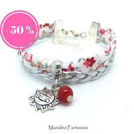 - 50 % Bracelet mini manchette SOLEIL dans les tons de rouge et argenté...