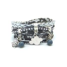 Bracelet NUAGE 2 tours,, ses perles et pampilles dans les tons gris, liberty gris et argenté...