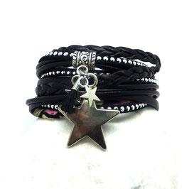 Bracelet ORION, ses étoiles, son pompon, noir et argenté