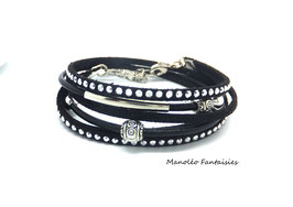 Bracelet AIDAN double tour, en suédine et cuir dans les tons de noir...