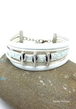 Bracelet CACTUS blanc en cuir et paillettes