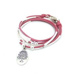 FAMILLE rose framboise ♥ Bracelet en cuir arbre de vie