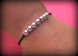 ♥ ARGENT ♥ Bracelet semainier de perles en argent 925/1000 sur cordon réglable.