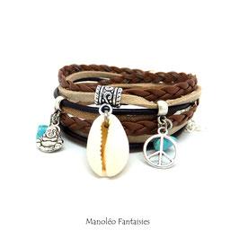 Bracelet BOHO CHIC double tour, COQUILLAGE, peace, dans les tons marrons et argentés...