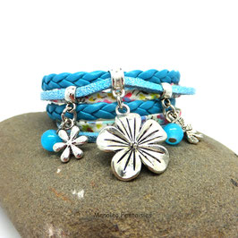 FLORA - Bracelet manchette 2 tours  turquoise