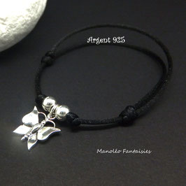 Bracelet PAPILLON en ARGENT et ses perles en argent 925/1000 sur cordon réglable...