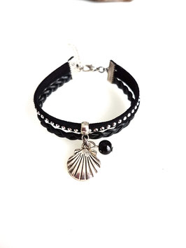 MARVIN noir - Bracelet mini manchette coquillage