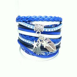 PLUME bleu- Bracelet manchette liberty foncé multitours -50%