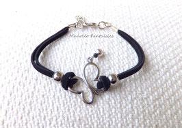 """Bracelet """"papillon vole..."""" noir et argenté"""