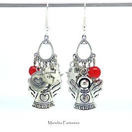 Boucles d'oreilles PHILAE, ange, coeur, étoile et perle rouge de couleur argentée