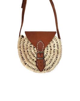 RIAD - petit sac rond rigide à rabat, anse en cuir