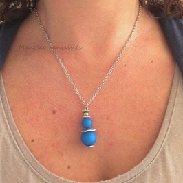 Collier plateaux argentés et perles bleues... -50%