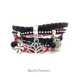 Bracelet LOTUS double tour et ses pampilles dans les tons de rouge, noir et argenté
