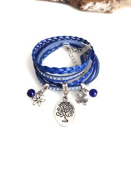 ARBRE DE VIE bleu- Bracelet breloques 2 tours