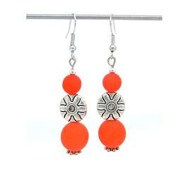 """Boucles d'oreilles """"palet ethnique soleil et polaris"""" oranges..."""