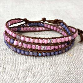 MAHE - Bracelet cuir wrap rose et parme