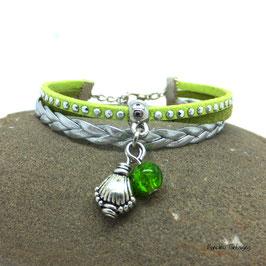 Bracelet mini manchette LUKA vert