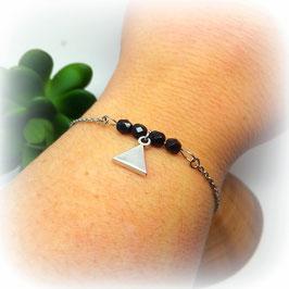 TIANO - Bracelet fin bohème noir triangle