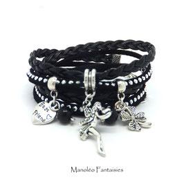 Bracelet FÉE manchette 2 tours, ses perles et pampilles, dans les tons noir et argenté...