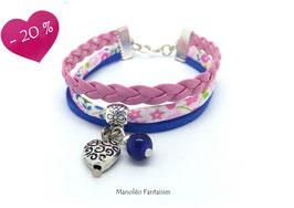 Bracelet liberty PAMPILLE coeur, cuir et suédine dans les tons rose et bleus...