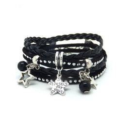 Bracelet ETOILES double tour dans les tons noir et argenté...