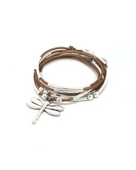 DRAGONFLY  bronze - Bracelet en cuir libellule