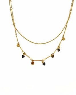 KIAN - collier doré 2 rangs perles noires et médailles
