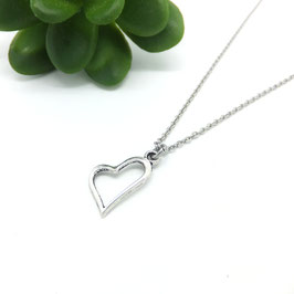 LOVE - Collier coeur argenté